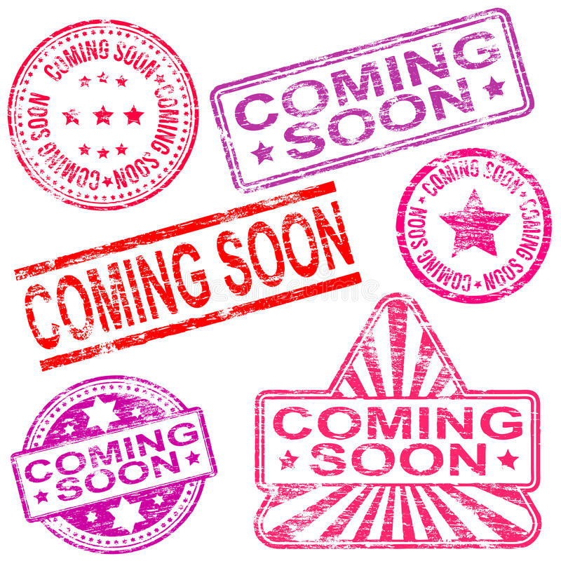 Coming Soon Rubber Stamps. Rectangular, triangular and round coming soon rubber stamp s stock illustration