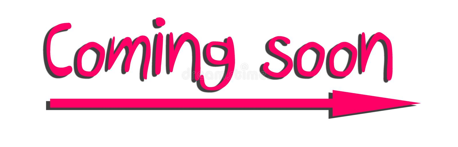 Coming Soon Sign horizontal with arrow stock photography