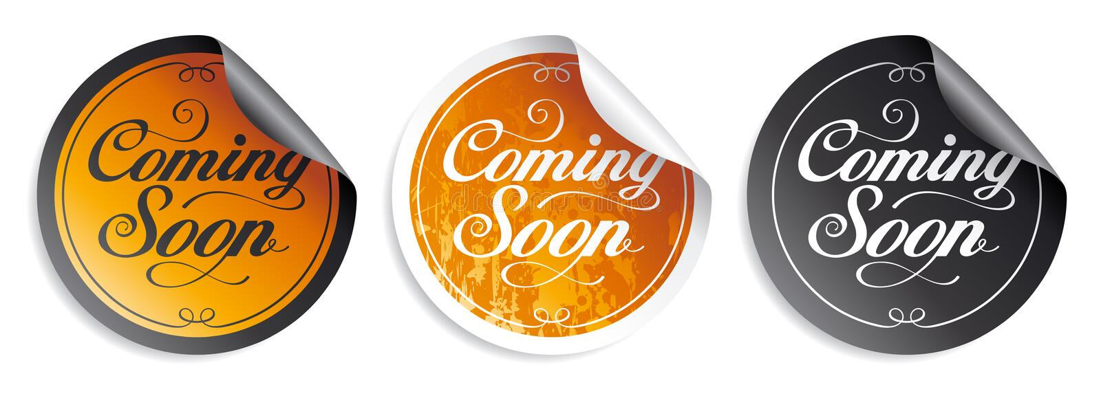 Coming soon stickers. Coming soon vintage stickers set stock illustration