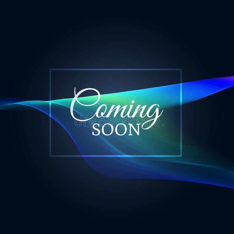 Coming soon text on neon wavy background royalty free illustration