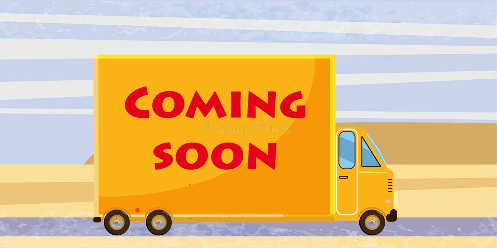 Coming soon, truck, speed, card. Truck delivery with the inscription `Coming Soon`, cartoon style, vector illustration royalty free illustration