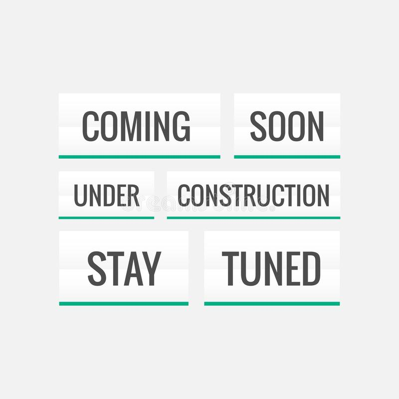 coming soon, under construction and stay tuned text on white background royalty free illustration
