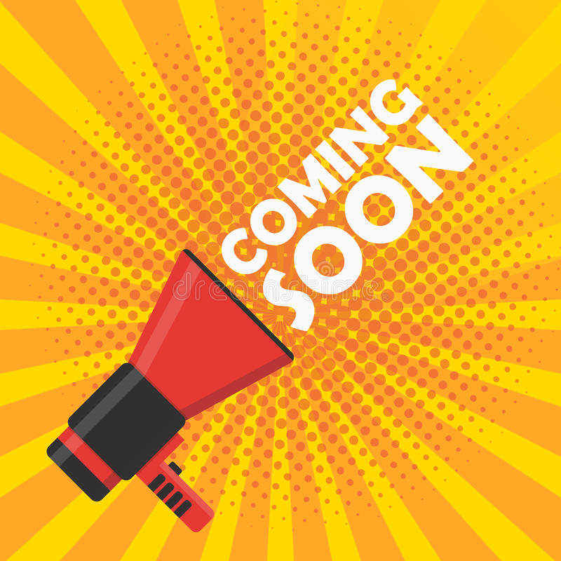 Coming soon vector banner. Announcement megaphone. Coming soon vector illustration banner. Announcement megaphone royalty free illustration