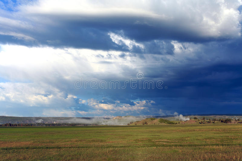 The coming storm. Storm clouds brewing over yellowstone national park royalty free stock photography
