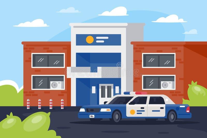 Comisaría de policía con el coche en día laborable libre illustration