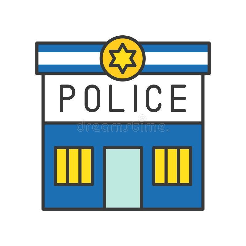 Comisaría de policía, movimiento editable del icono relacionado de la policía stock de ilustración