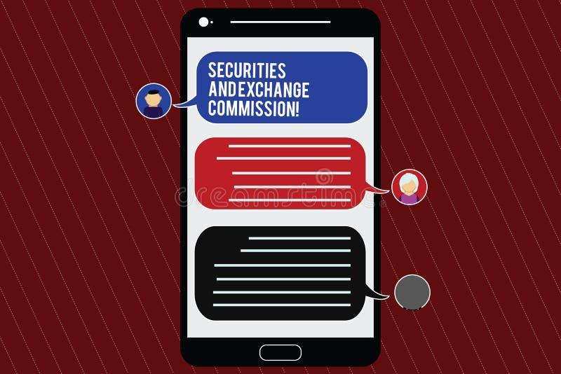 Comisión de Valores y Bolsa de la demostración de la muestra del texto Seguridad conceptual de la foto que intercambia el móvil f ilustración del vector