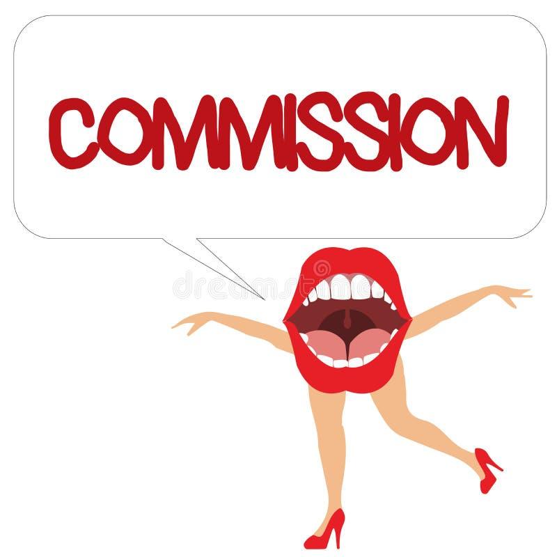 Comisión del texto de la escritura de la palabra Concepto del negocio para el papel del comanalysisd de la instrucción dado a una ilustración del vector
