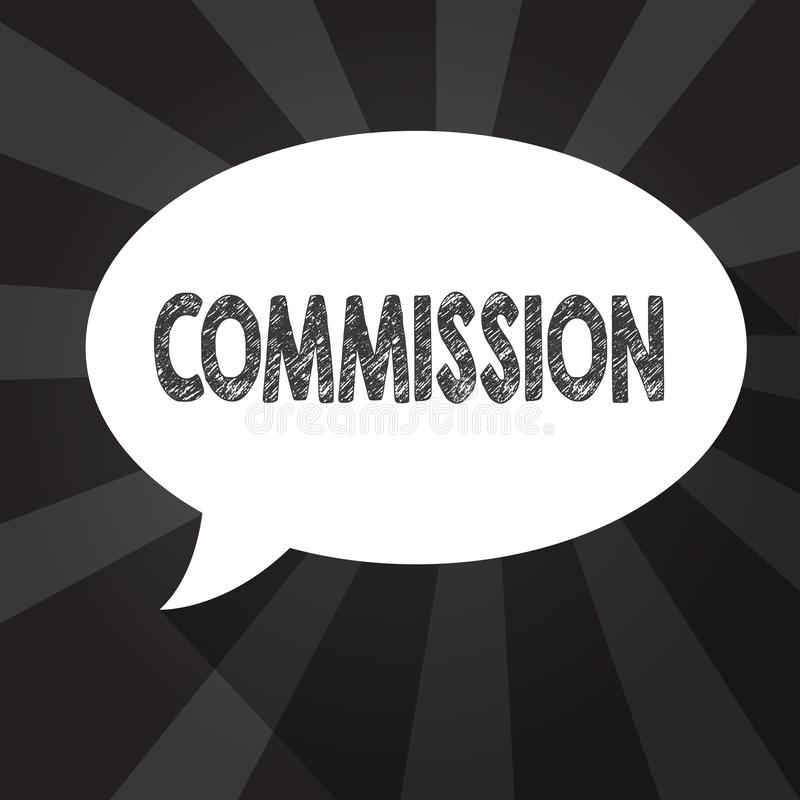 Comisión del texto de la escritura de la palabra Concepto del negocio para el papel del comanalysisd de la instrucción dado a una stock de ilustración