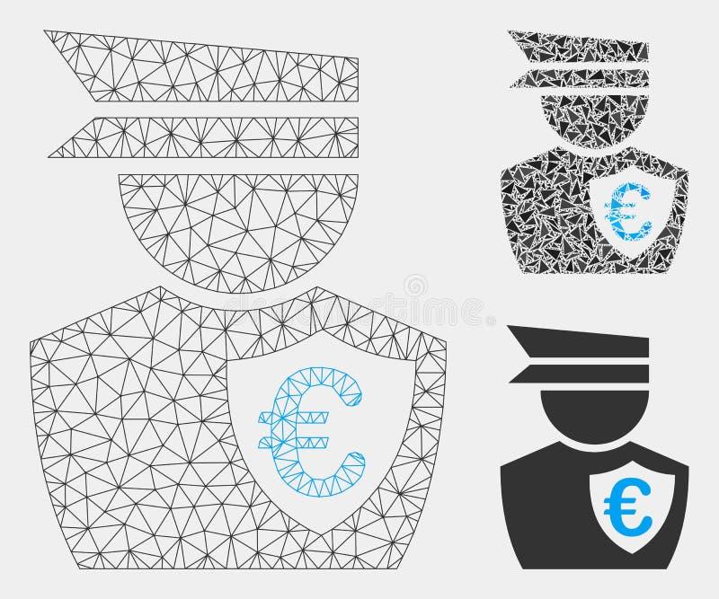 Comisión euro Vector Mesh Network Model e icono del mosaico del triángulo stock de ilustración