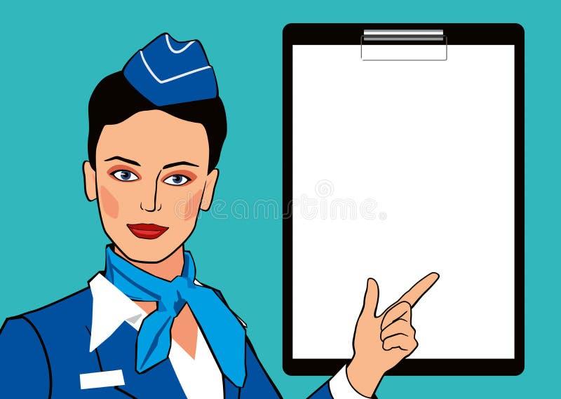 Comissária de bordo do modelo do pop art e folha vazia para o texto Menina bonita no dedo uniforme dos pontos ilustração royalty free
