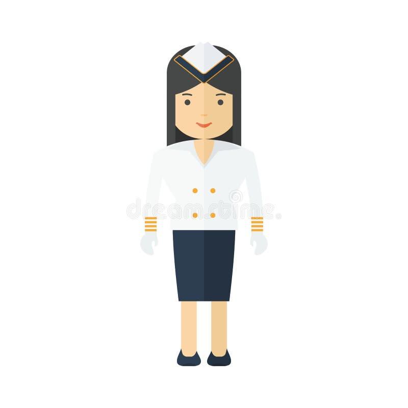 Comissária de bordo do navio da profissão ilustração royalty free