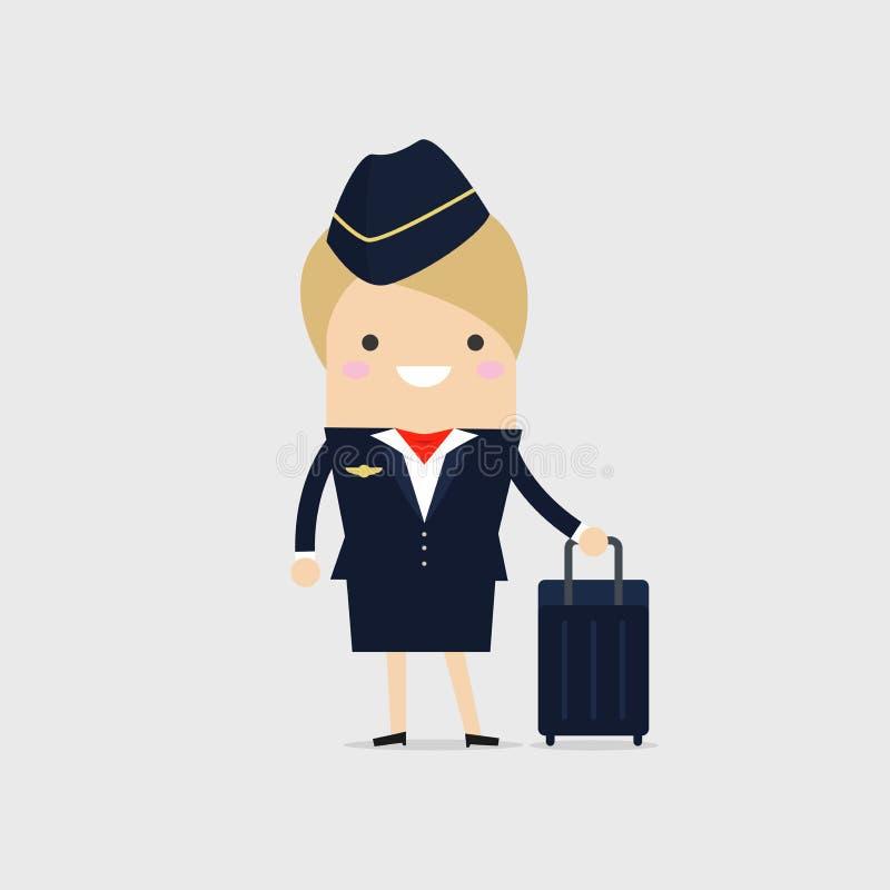 Comissária de bordo Holding Suitcase Aeromoça de ar com mala de viagem Assistentes do voo ilustração do vetor
