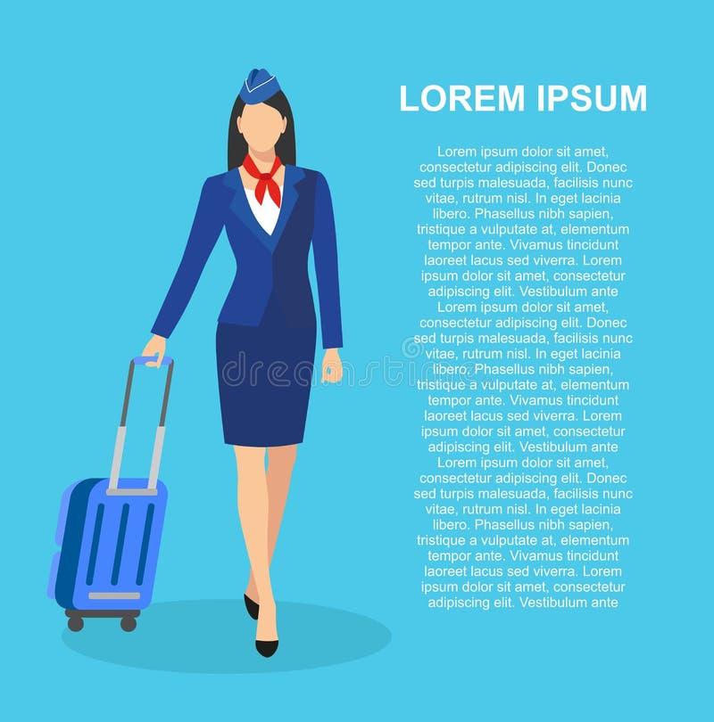 Comissária de bordo Holding Suitcase assistentes do voo, aeromoça de ar, ilustração do vetor Profissão: comissária de bordo ilustração do vetor
