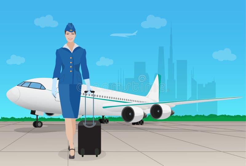 Comissária de bordo no avião próximo uniforme no aeroporto Ilustração do vetor ilustração stock