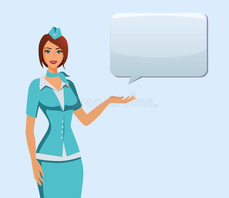 Comissária de bordo no uniforme azul Assistentes de voo, aeromoça de ar que aponta na informação ou que está com saco ilustração stock