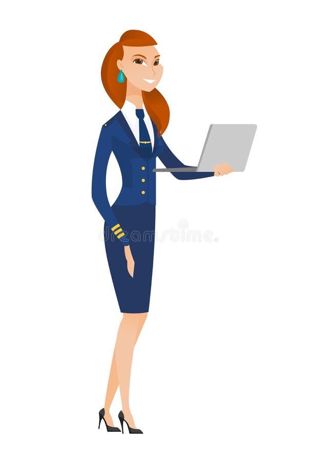 Comissária de bordo que usa a ilustração do vetor do portátil ilustração do vetor