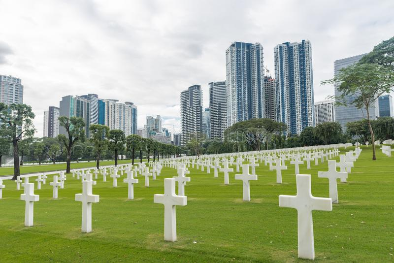 A comissão americana dos monumentos da batalha Cemitério e memorial americanos de Manila foto de stock royalty free