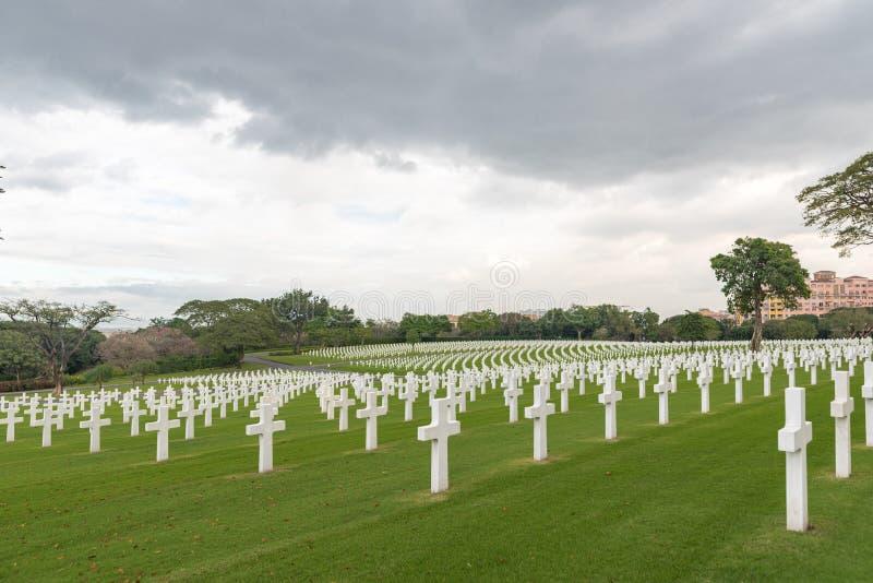 A comissão americana dos monumentos da batalha Cemitério e memorial americanos de Manila imagens de stock