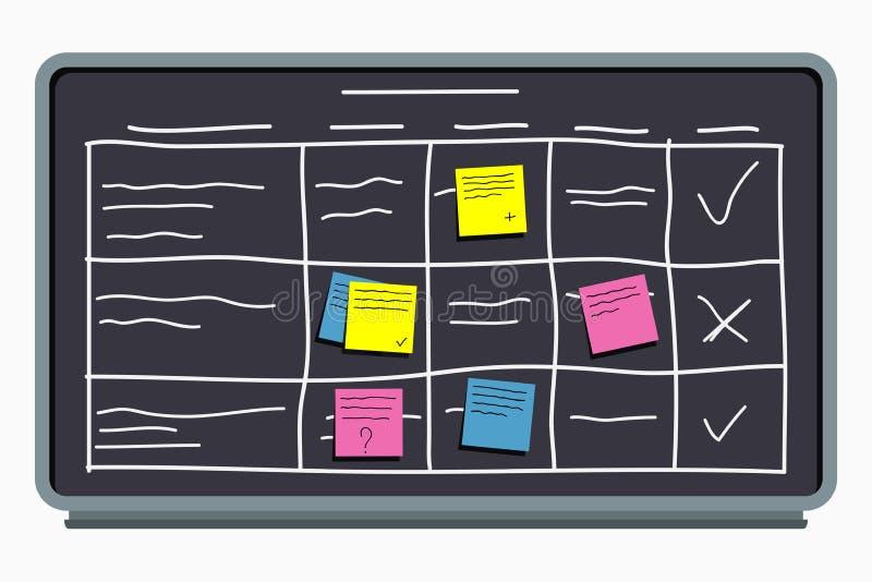 A comissão de planeamento com notas pegajosas Encarregue a placa com esquema da tabela e programação do escritório ilustração royalty free