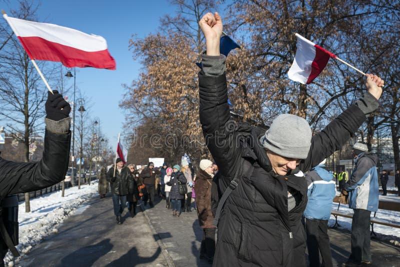 Comité polaco para la defensa de la demostración de la democracia en W fotografía de archivo