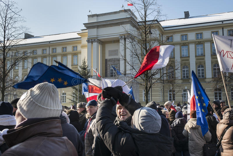 Comité polaco para la defensa de la demostración de la democracia en W imagenes de archivo