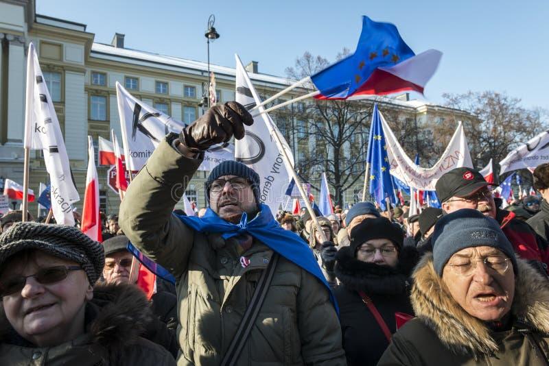 Comité polaco para la defensa de la demostración de la democracia en W foto de archivo