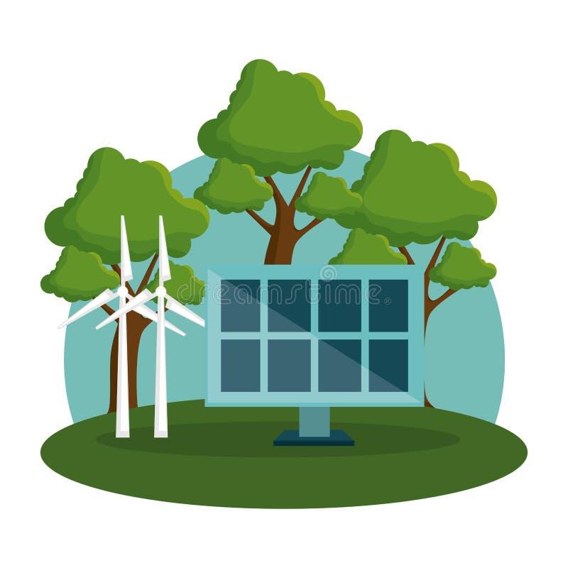 Comité zonne en de alternatieven van de windmolenenergie stock illustratie