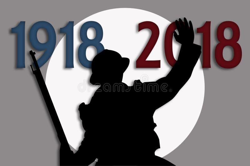 Commémoration du centenaire de la grande guerre illustration de vecteur