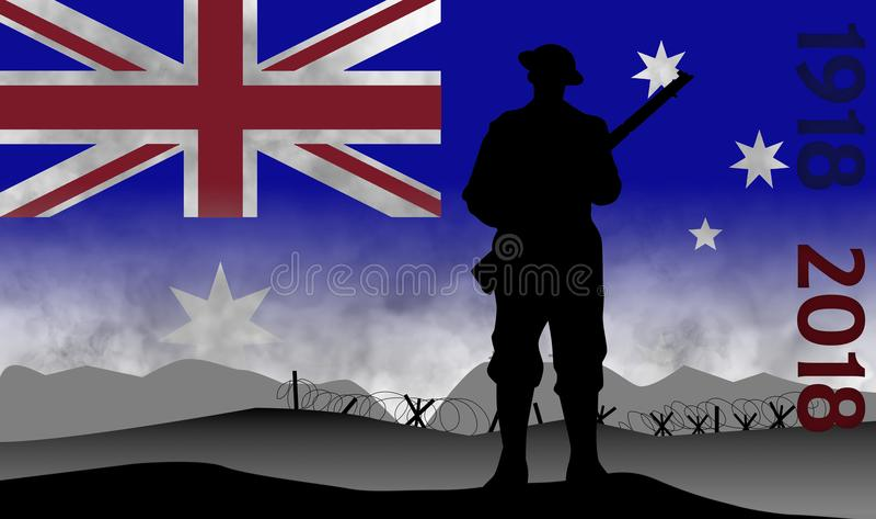 Commémoration du centenaire de la grande guerre, ANZAC illustration de vecteur