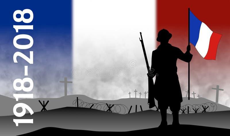 Commémoration du centenaire de la grande guerre, France illustration stock