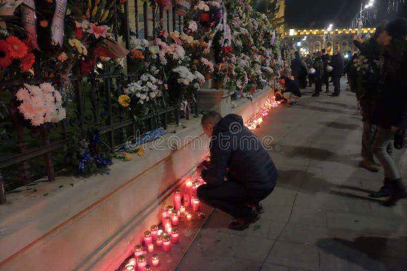 Commémoration du Roi Mihai à Royal Palace à Bucarest, Roumanie images stock