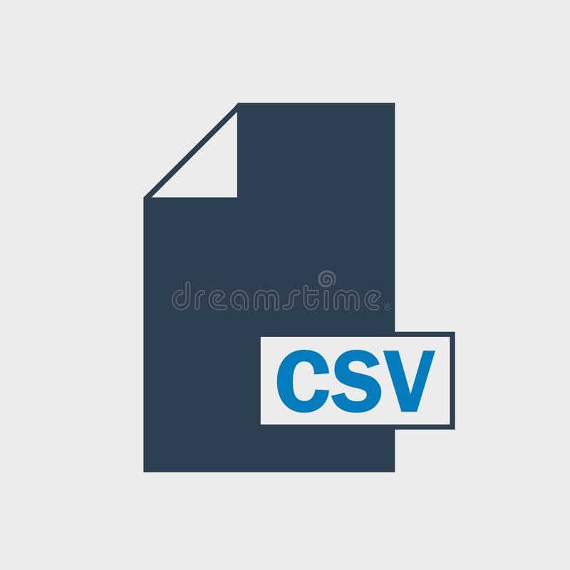 Comma Separated Values CSV file format icon on gray background. Comma Separated Values CSV file format icon vector illustration