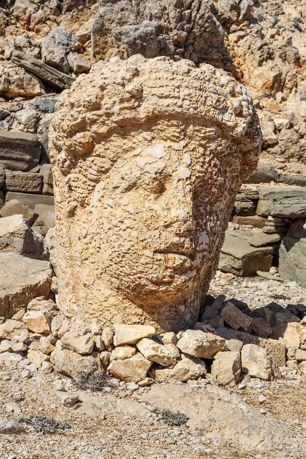 Commagene statue at East Terrace on top of Nemrut Mountain.Turkey. Commagene statue at East Terrace on top of Nemrut Mountain. Stone heads at the top of 2150 stock image