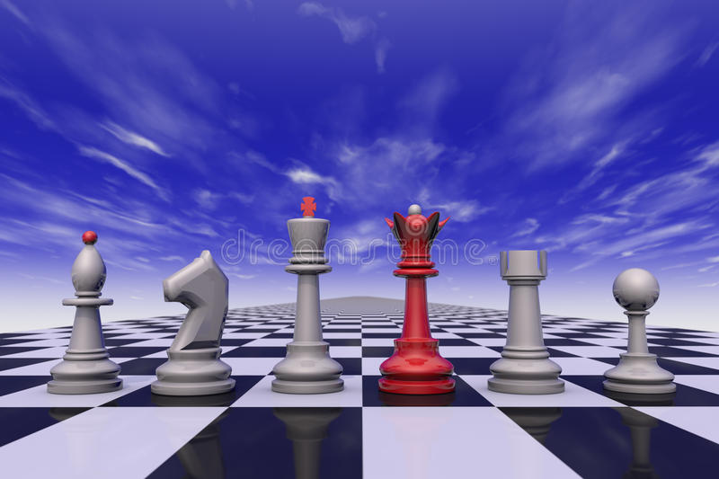 Command. Chess on the background of the dramatic sky. 3D-image royalty free illustration