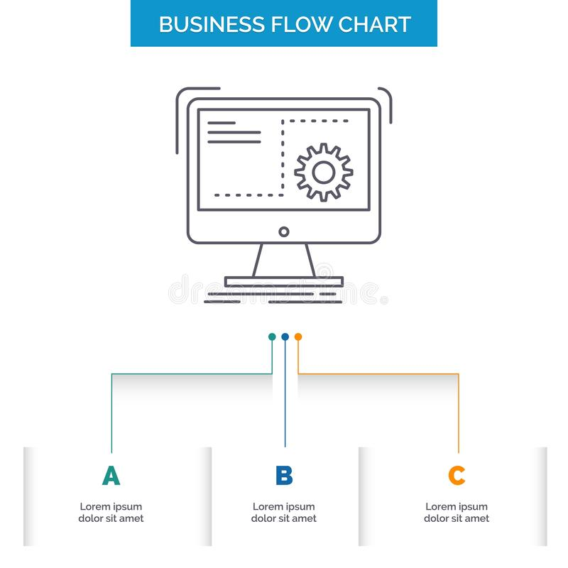 Command, computer, function, process, progress Business Flow Chart Design with 3 Steps. Line Icon For Presentation Background. Template Place for text. Vector stock illustration