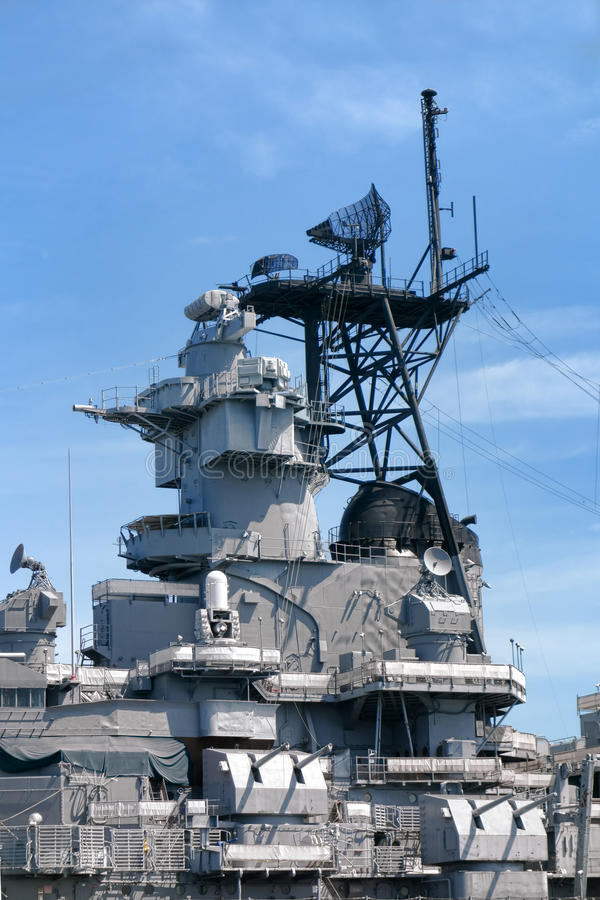 Command Tower and Weapons on US Navy Battleship stock image