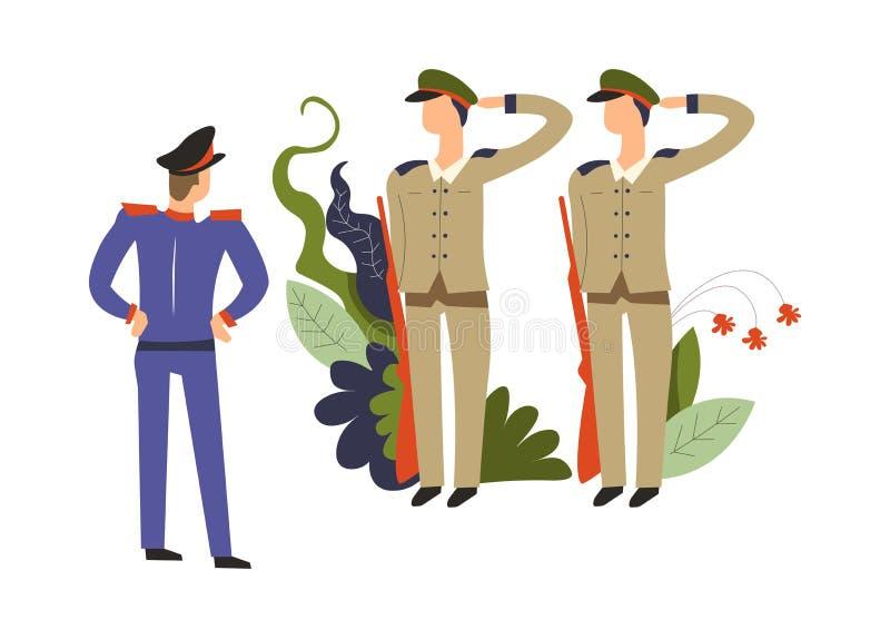 Commandant d'armée, et soldats avec des zones de courant obéissant l'ordre illustration libre de droits