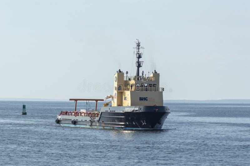 Commandant en mer de navire d'approvisionnement approchant New Bedford des Bu image libre de droits