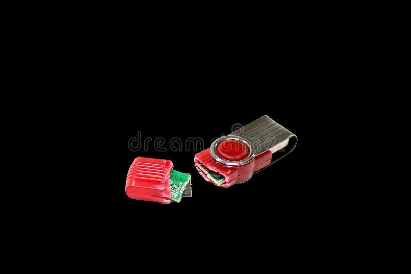 Commande cassée d'instantané d'USB d'isolement photographie stock libre de droits