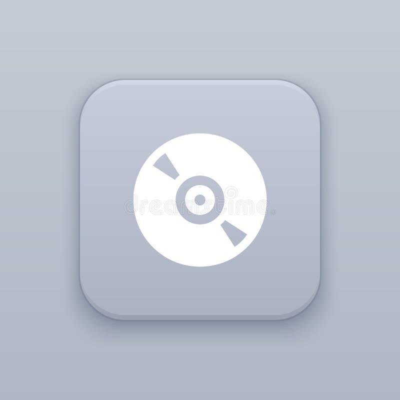 Commande, CD, bouton gris de vecteur avec l'icône blanche illustration stock