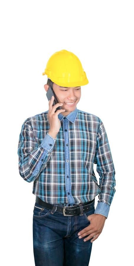 Commande d'entretien d'ing?nieur d'homme d'affaires avec le t?l?phone portable avec 5g le r?seau, Internet mobile ultra-rapide et images libres de droits