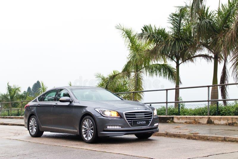 Commande d'essai de la GENÈSE 2015 de Hyundai photographie stock libre de droits
