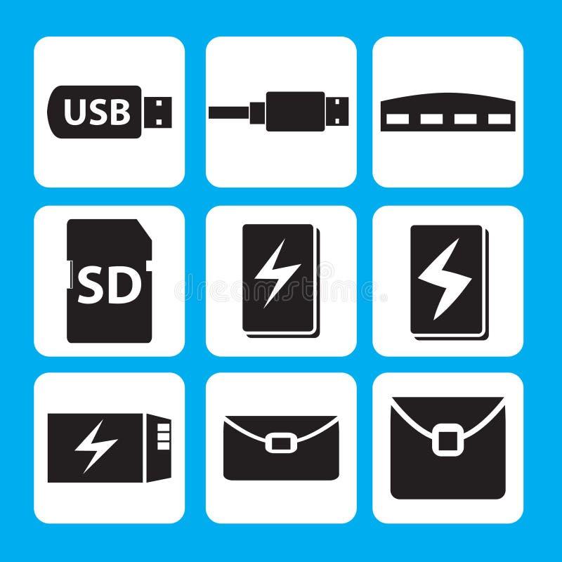 Commande d'instantané d'USB, câble d'USB, hub, bâton de mémoire, banque de puissance, icône de batterie illustration stock