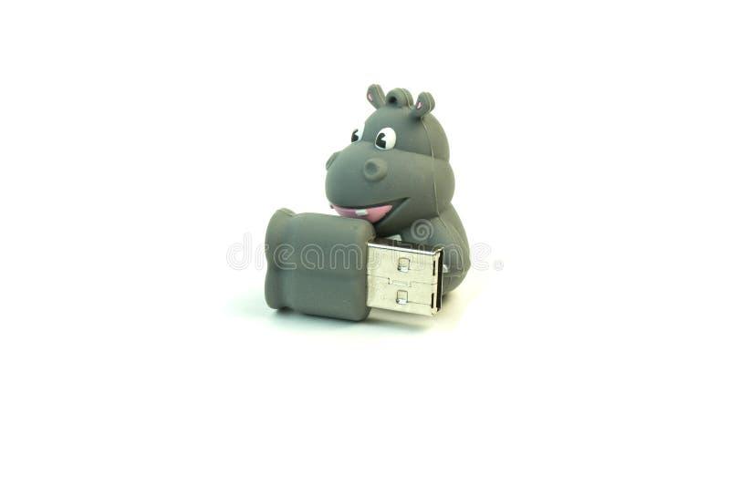 Commande d'instantané d'USB pour un enfant Photo sur le fond blanc photo libre de droits