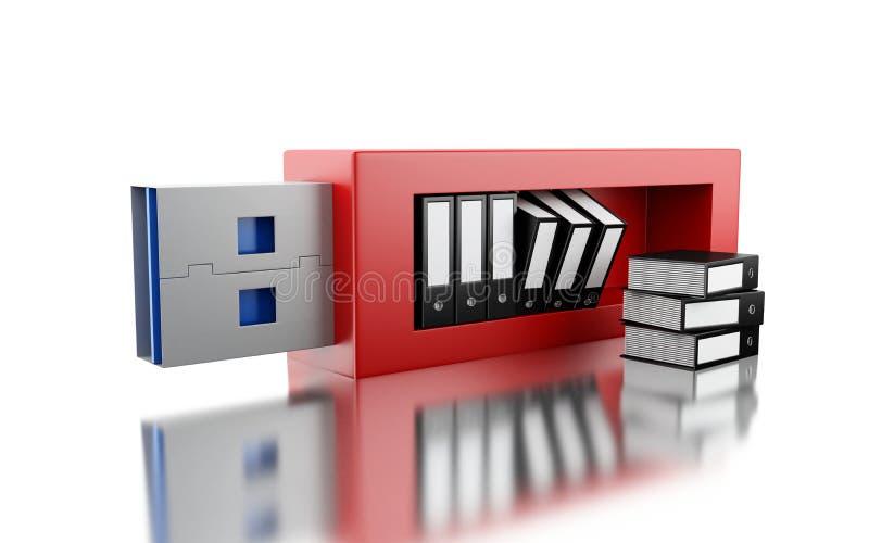 commande de 3d USB avec des dossiers de données illustration de vecteur