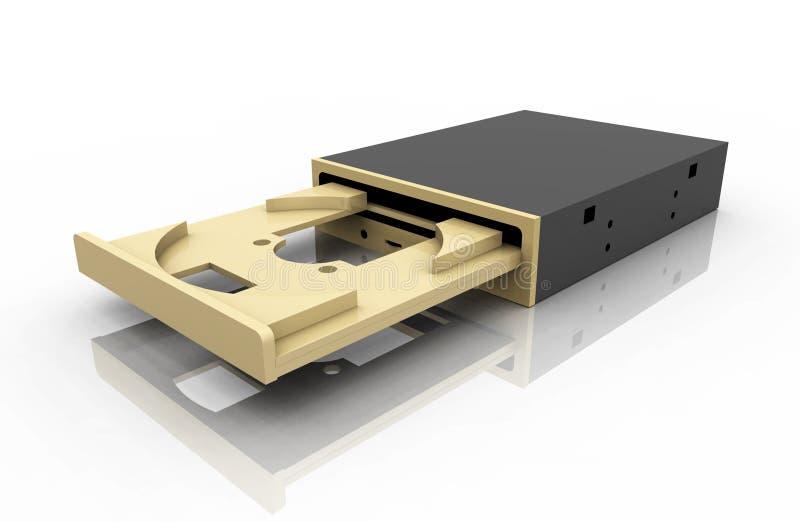 Commande de disque compact-ROM sur un fond blanc illustration stock