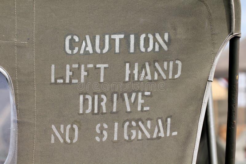 Commande de main gauche de précaution aucun signal photo libre de droits