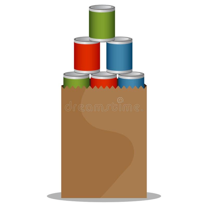 Commande de nourriture en boîte illustration de vecteur