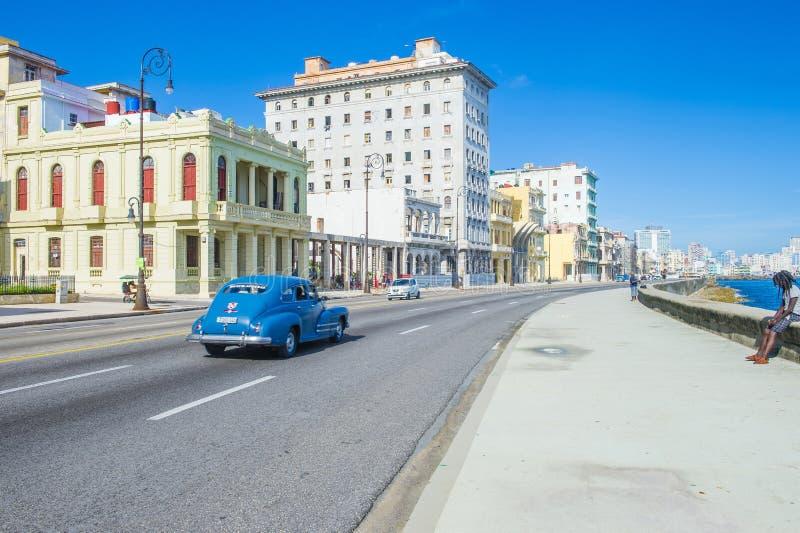 Commande Malecon de bord de la mer à La Havane image libre de droits